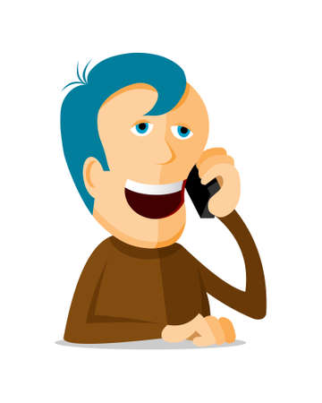 Man with phone, cartoon illustration Vector