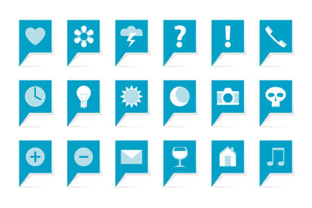 Labels with symbols, 18 blue bubbles on white Vector
