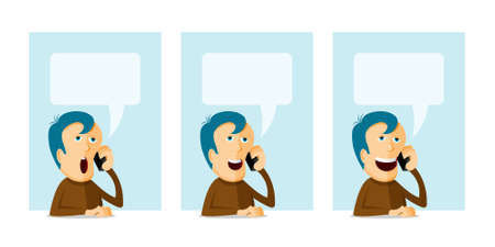 Man with phone, cartoon illustration with place for your text Vector