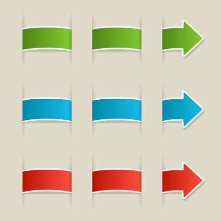 Three colored arrows, green, blue and red labels with place for your text
