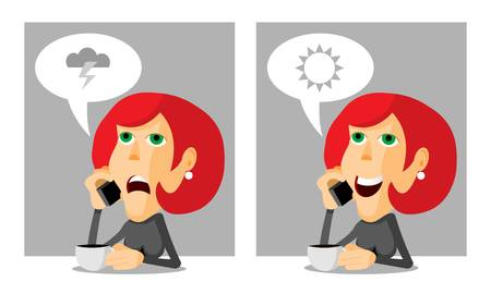Woman with coffee and a phone, anger and joy, cartoon illustration Vector