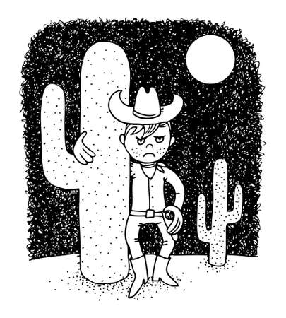 Mad cowboy in the desert, pen cartoon illustration Vector