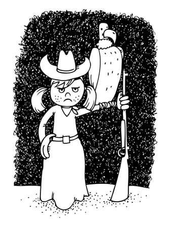Mad cowgirl, pen cartoon illustration Vector
