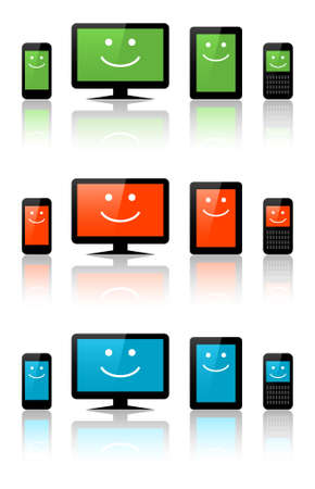 Computers, tablets and phones with a smile Vector
