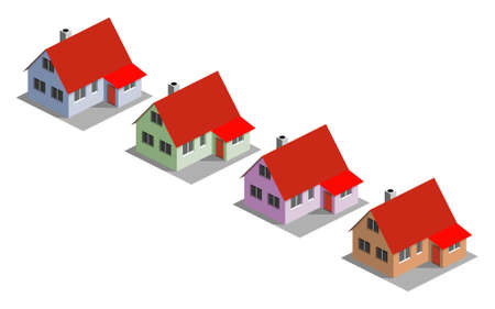 Four colored houses, 3D illustration Illustration