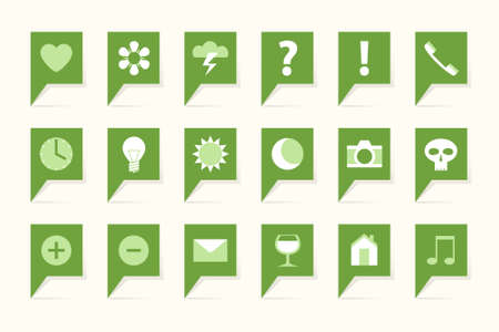 Labels with symbols, 18 green bubbles
