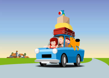 Family in a blue car loaded with luggage, cartoon illustration