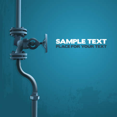 loodgieterswerk: Oude ventiel, industrie illustratie op blauw met plaats voor uw tekst Stock Illustratie