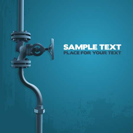 llave de agua: V�lvula vieja, ilustraci�n industria en azul con el lugar para su texto