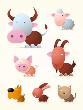 Cow, pig, sheep, goat, rabbit, dog and cat, cartoon illustration Vector