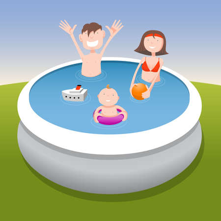 Father, mother and child in pool, cartoon illustration Vector