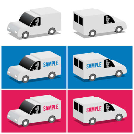 White van front and rear, cartoon 3d illustration Stock Vector - 21066314