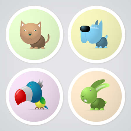 Four buttons with pets, cat, dog, parrot and rabbit Illustration