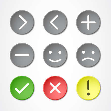 Nine colored buttons with symbols and emoticons Illustration