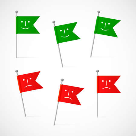 Six green and red flags on the pins, six vector labels