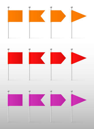 Orange, red and purple flags on the pins, vector labels Stock Illustratie