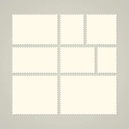 Eight blank postage stamps, vector templates with place for your images and text