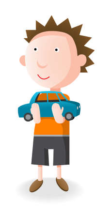 Boy holding in her arms a blue toy car, cartoon illustration Vector