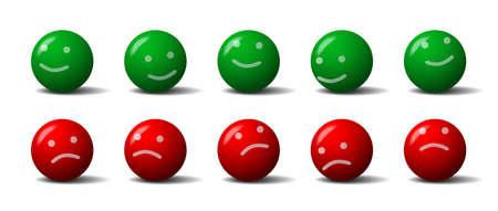 caras tristes: Bolas verdes y rojas con una sonrisa y un gesto