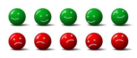 face expressions: Green and red balls with a smile and frown Illustration