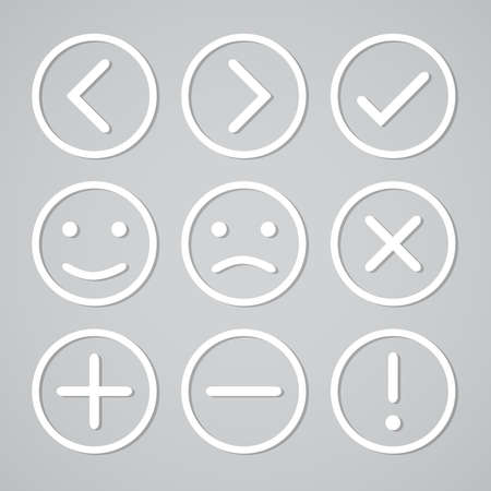 Set of simple colored buttons with symbols and emoticons
