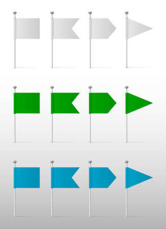 pinning: White, blue and green flags on the pins, vector labels