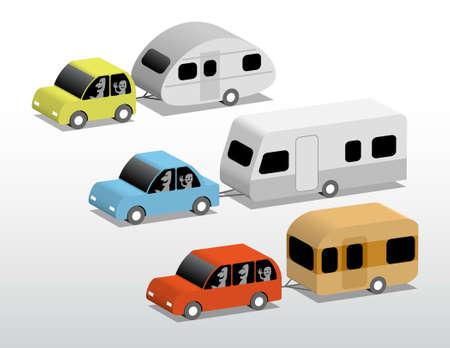 A set of three small cars with caravans, 3d cartoon illustration