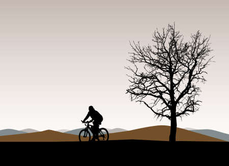 bicycle silhouette: Silhouette landscape with rider and a tree, vector illustration