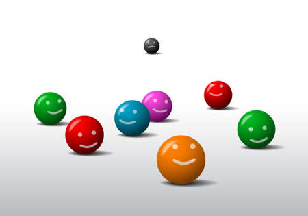 pessimist: Eight colored balls with a smile and frown