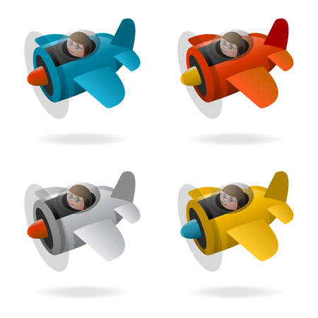 Propeller plane in four colors, cartoon illustration Illustration