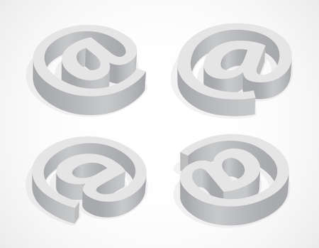 whorl: Symbol commercial at, four colorless icons, 3d illustration