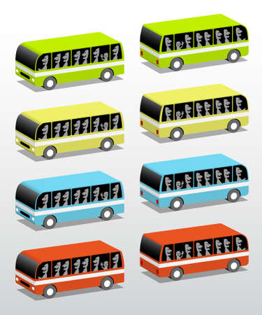 Buses from the front and rear, vector 3d illustration Illustration