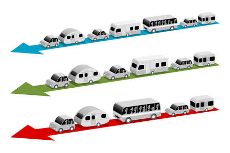 Caravans and buses go on vacation, three variants, 3d cartoon illustration