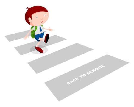 1 school bag: Back to school, boy crosses the street on the way to school, cartoon illustration