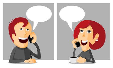 Phoning man, woman phoning, cartoon vector illustration