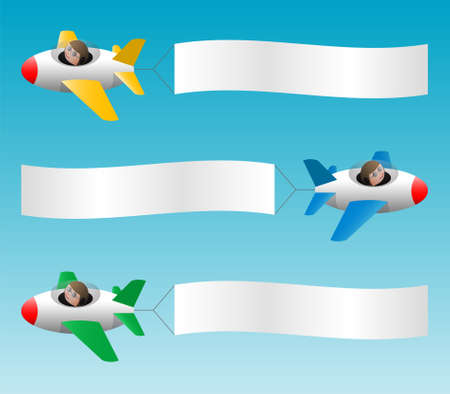 Three jets with banners, cartoon illustration, place for your text