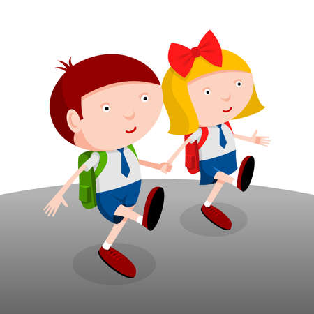 go back: Back to school, boy and girl go to school together, cartoon illustration