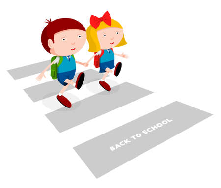 couple back to back: Back to school, children in school uniforms cross the road, cartoon illustration