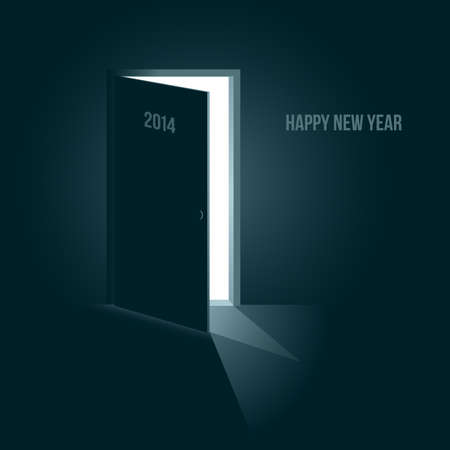 Doors to the new year 2014, symbolic illustration with blue tone