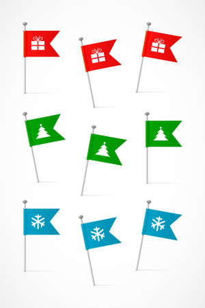 Set of colored flags with Christmas symbols, nine vector labels