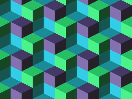 Blue, green and purple cubes, abstract geometric vector background Vector