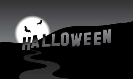 Halloween parody of the Hollywood Hills, black and white vector cartoon illustration Illustration