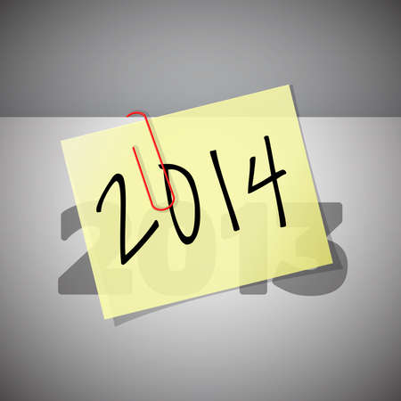 inscribed: Paper inscribed with the year 2014, vector illustration