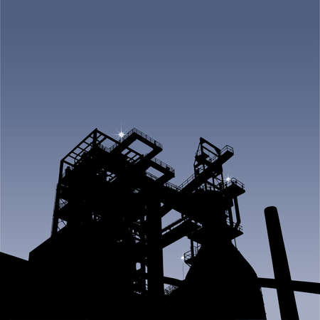ironworks: Silhouette of a blast furnace for iron, vector illustration with place for your text