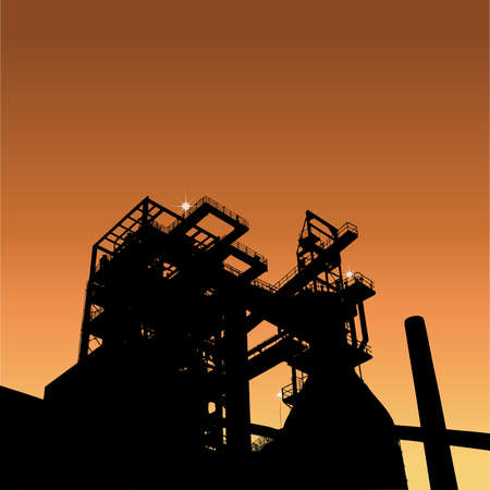 ironworks: Silhouette of a factory with sunrise, vector illustration with place for your text