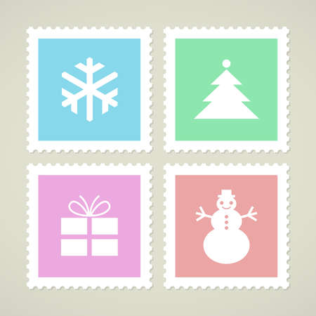 Postage stamps with Christmas symbols, vector icons Vector