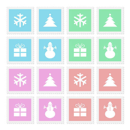 Stamps with Christmas symbols in four colors, vector icons Vector