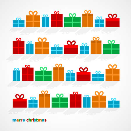 Set of Christmas gifts, vector illustration
