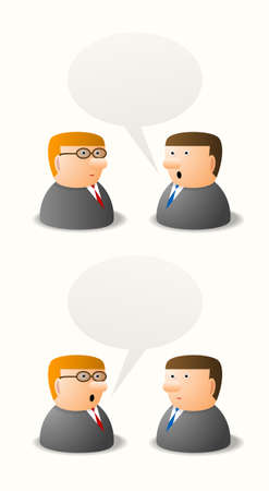 Dialogue between two persons, cartoon illustration, place for your text