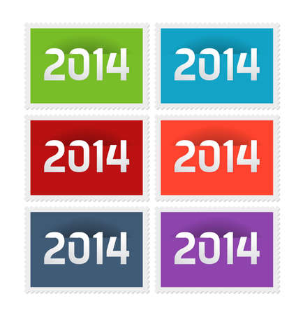 Six postage stamps with the year 2014, vector illustration Illustration